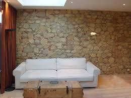 bruchstein wand steinpaneele wandgestaltung wohnzimmer