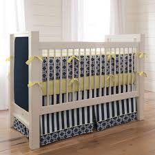 Navy and Yellow Geometric Crib Bedding Contemporary Kids