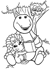 Barney Reading A Book Under Tree Coloring Pages For Kids Printable