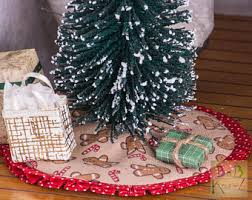 Miniature Tree Skirt Gingerbread Red Dollhouse 112 Scale