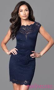 cheap navy blue lace semi formal dress promgirl