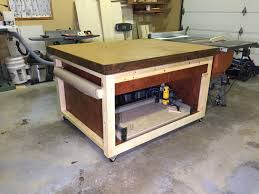 Sawstop Cabinet Saw Outfeed Table by Diy Adjustable Workbench Outfeed Table Youtube