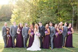 fall running hare vineyard wedding with plum floor length