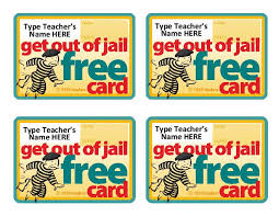 ART Student Get Out Of Jail FREE Reward Cards