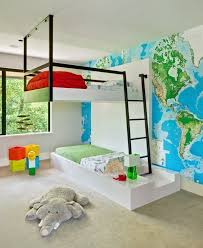 cool bunk beds design modern kids room decorating ideas world map