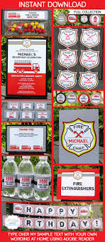 100 Fire Truck Birthday Party Invitations Man Printables Decorations