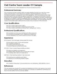 Call Centre Team Leader CV Sample