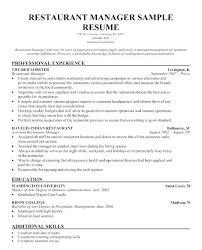 Restaurant Waiter Resume Waiter Resumes Restaurant Manager Skills