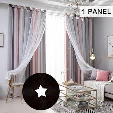 anself 1st 134 240cm doppelschicht sterne vorhänge verdunkelung fuer kinder schlafzimmer wohnzimmer fenstervorhänge grau