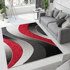 teppich kurzfor grau rot schwarz modern wellen wohnzimmer