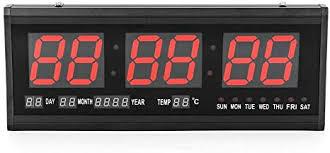 dilibee led wanduhr digitaluhr digital led wanduhr 24hr uhr digitaluhr beleuchtung im rot mit datum temperatur wohnzimmer küchuhr rot
