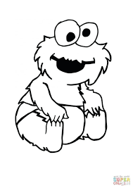 Printable Sesame Street Birthday Coloring Pages Free Elmo Christmas Click Baby Cookie Monster Sitting View Pictures