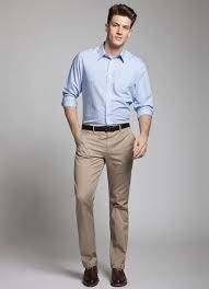 What colour pants will go well with a light blue shirt for casual
