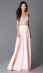 long beaded pink chiffon prom dress promgirl