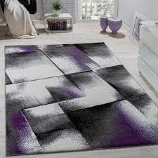 designer teppich wohnzimmer teppiche kurzflor meliert lila grau schwarz creme