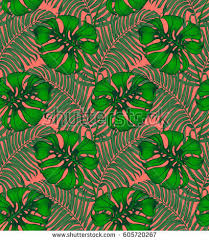 Vintage Tropical Seamless Pattern Tropic Repeating Background Jungle Exotic Palm Leaves Texture For Wallpaper
