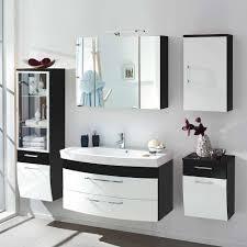 hochglanz badezimmer möbel set in weiß anthrazit boisan mit led licht 5 teilig