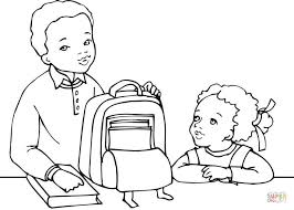 Pretty Design Ideas African American Coloring Pages Boy And Girl Getting Ready For School