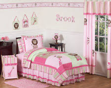 Jojo Designs Pink and Green Girls Jungle Kids Bedding 4pc Twin
