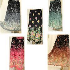 indian boho long skirt floral pattern rayon summer skirt black