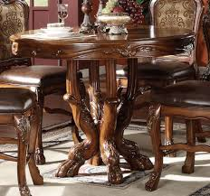 Acme Dresden Round Pedestal Counter Height Dining Table In Brown Cherry Oak 12160