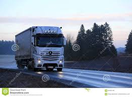 100 Mercedes Semi Truck Benz Actros Transport In The Evening Editorial