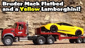 Toy Bruder MACK Flatbed TRUCK And Yellow Lamborghini Exotic Sports ...