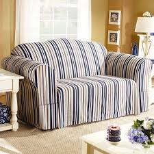 Gray Sofa Slipcover Walmart by Sure Fit Indigo Stripe Sofa Slipcover Walmart Com