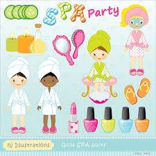 Girls SPA Party Digital Clipart Scrapbooking Web Design Card Birthday