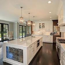 White Kitchen Island With Antiqued Mirrored End Panels