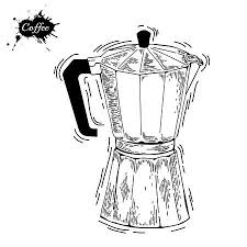 Coffee Ware Pot Sketch Illustration Moka An Engraving Style Maker