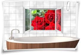 fliesenaufkleber fliesenbild fenster blumen küche bad wc fliesen deko