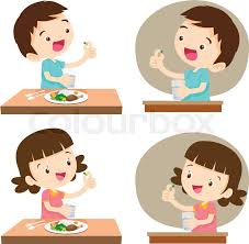 Kids taking pills with glass of waterildren taking a medicine vector illustration Cute boy and Girl taking pills with glass of water before meal