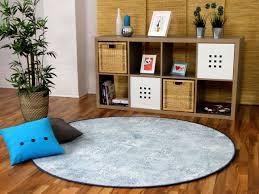 designer soft velours teppich vintage eisblau rund