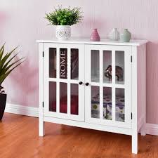 Details About Glass Door Sideboard Console Storage Buffet Cabinet Home Living Room Furniture