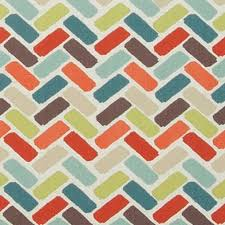 Material For Curtains And Upholstery by Contemporary Orange And Aqua Geometric Cotton Upholstery Fabric
