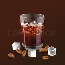 Vector Illustration In Realism 3d Style With Iced Coffee Beans And Ice Cubes