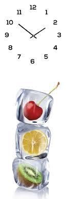 wanduhr aus glas 20x60cm uhr als glasbild eiswürfel obst