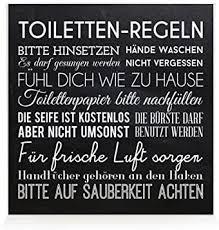 interluxe holzblock shabby toiletten regeln schwarz badregeln schild deko badezimmer
