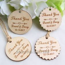 200pcs Personalized Engraved Thank You Wedding Tags Round Circle Wooden Hang Rustic