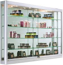 wall mounted display cabinet with led lights 5 wide