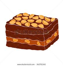 Piece of a classic chocolate brownie with nuts and caramel Brownie vector illustration