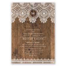 Rustic Barn Wood Lace Wedding Invitation