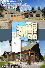 100 Mountain House Designs Plan 62720DJ Rustic 3Bed With Future Office Off Garage