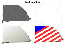 San Bernardino County California Blank Outline Map Set Stock Vector
