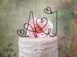 Personalized Cake Topper With YOUR INITIALS Rustic Wedding Shabby Chic