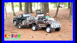 100 Dodge Truck Power Wheels Playing With His Ride On Ram 3500 Dually Hauling