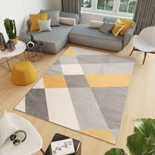 teppich cosmo kurzflor geometrisch gelb grau blau modern