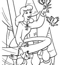 Cinderella And Two Little Birds In Coloring Page