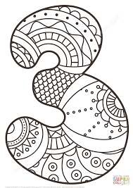 Number 3 Zentangle Coloring Page Free Printable Pages For